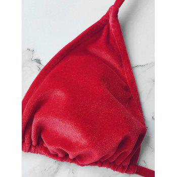 Velvet Halter String Bikini Swimwear - RED S