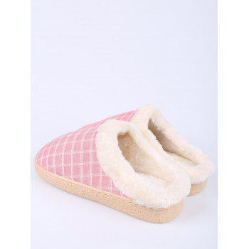 Plaid Faux Fur House Slippers - PINK SIZE(40-41)