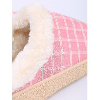 Plaid Faux Fur House Slippers - PINK SIZE(38-39)