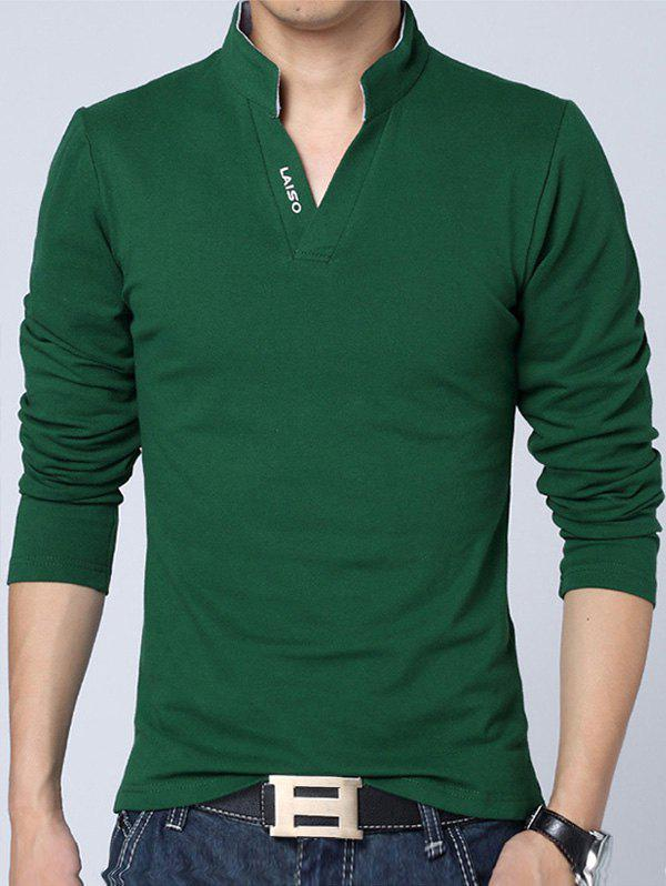 Stand Collar Long Sleeve Letter Polo Shirt - GREEN 4XL