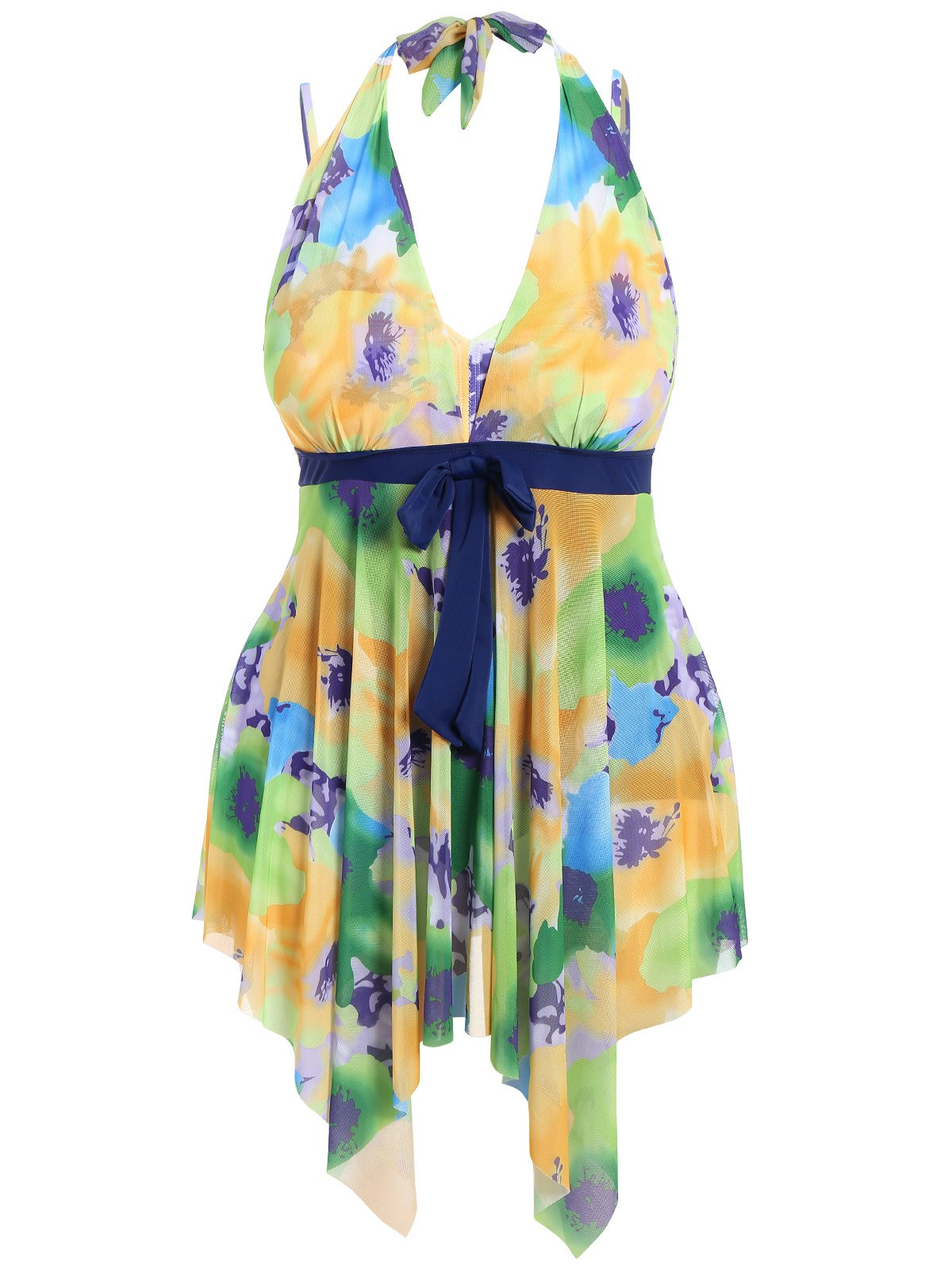 Plus Size Floral Swimwear - YELLOW 2XL