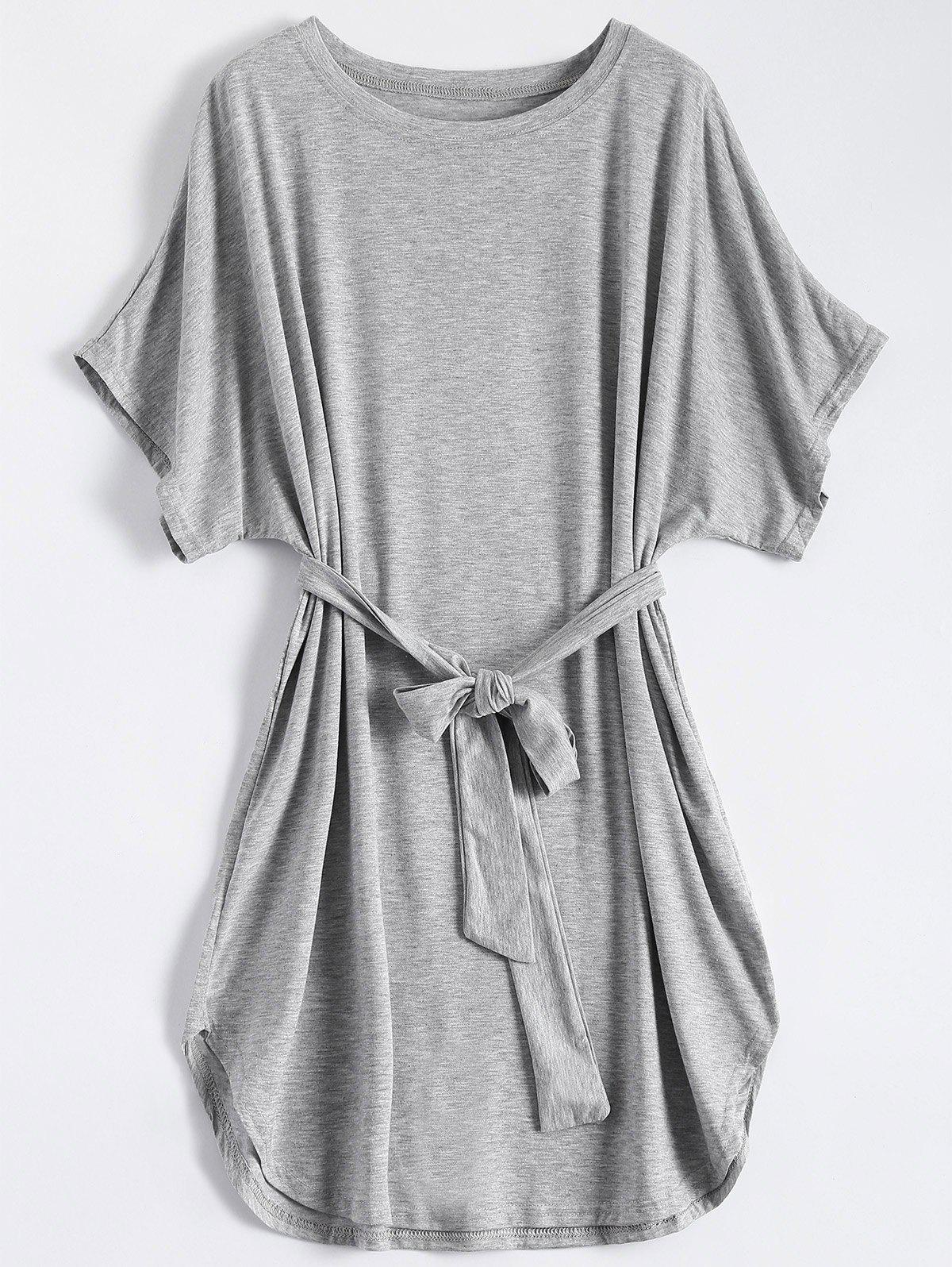 Casual Batwing Sleeve Belted Mini Dress - GRAY 2XL