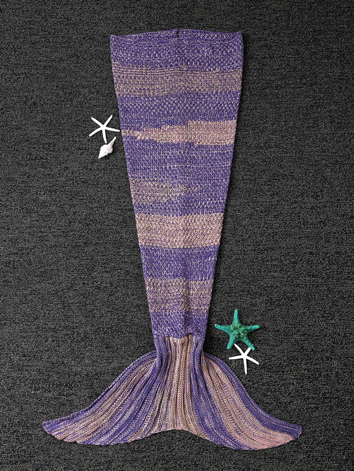 Winter Thicken Longer Color Block Design Knitted Wrap Kids Mermaid Tail Blanket super soft knitted fishbone kids wrap halloween mermaid blanket and throws