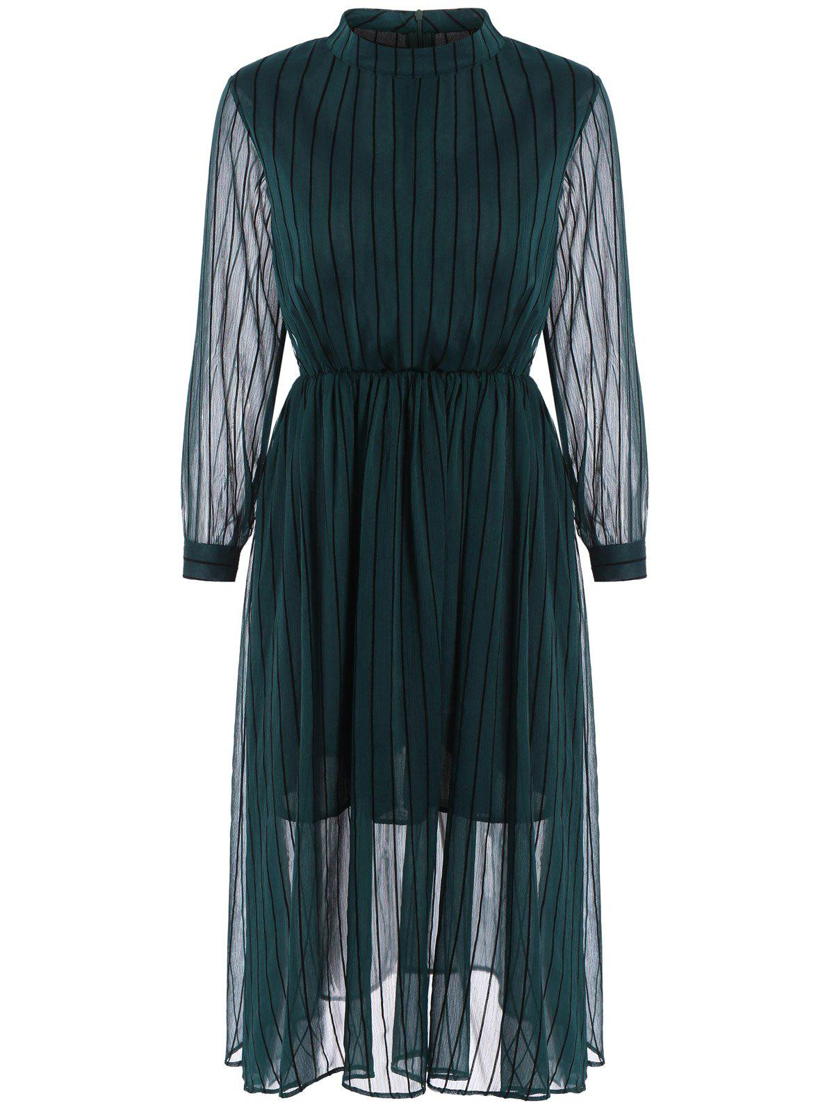 Semi Sheer Stripe  Midi Chiffon Dress - DEEP GREEN M