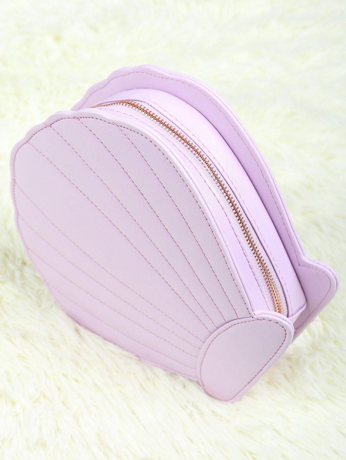 Scallop Shape Zipper Makeup Brush Bag - LIGHT PURPLE