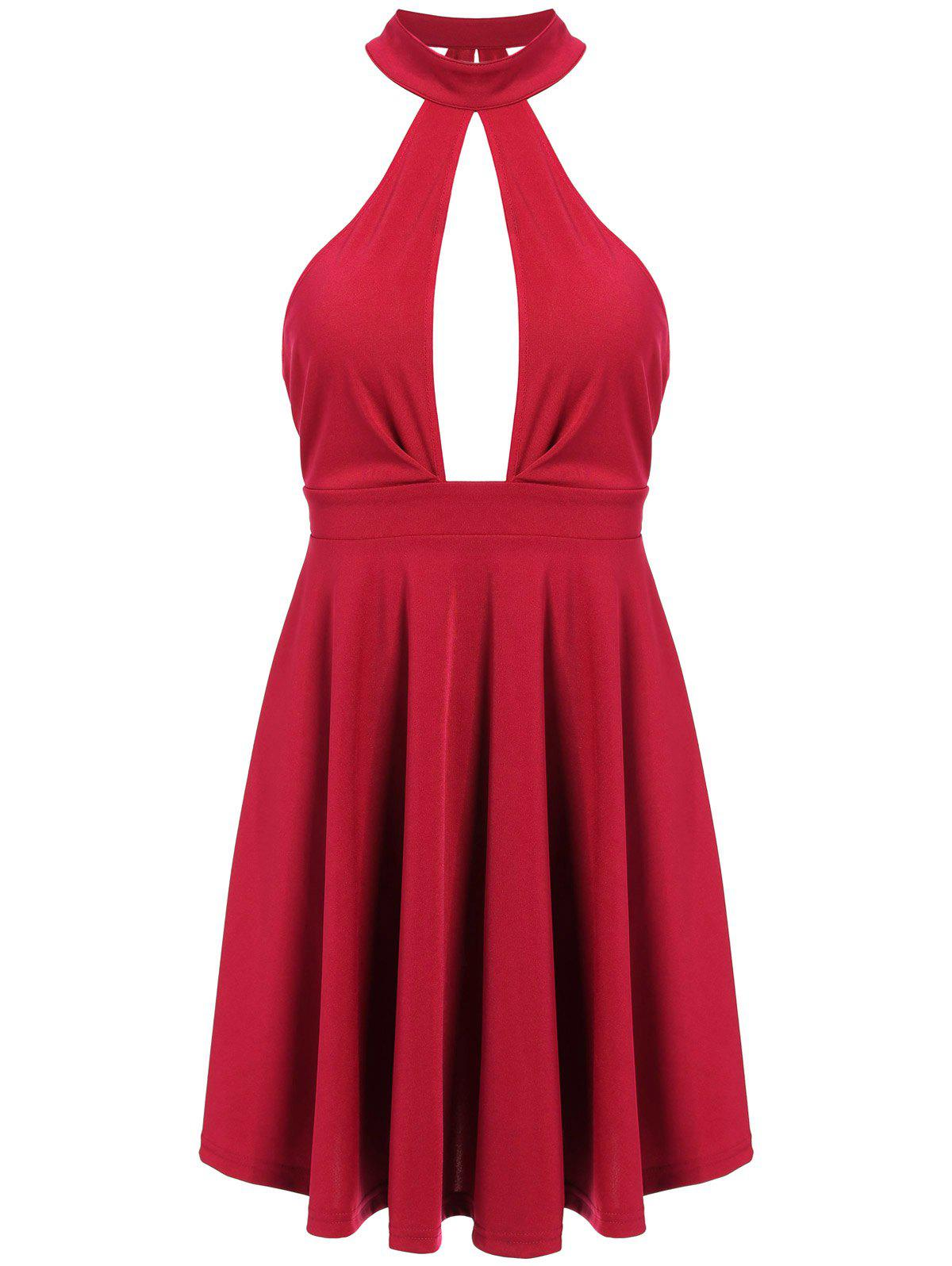 Low Back Keyhole Mini Cocktail Skater Dress - RED M