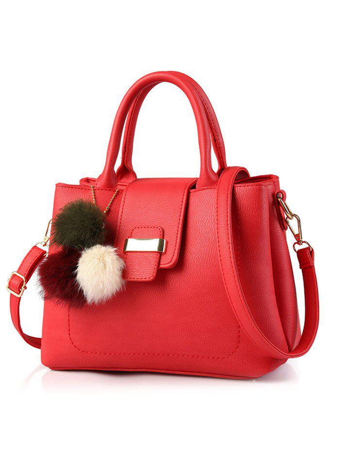 PU Leather Handbag with Pompon Detail - RED