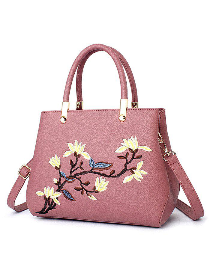 Flower Embroidered Faux Leather Handbag - PEONY PINK