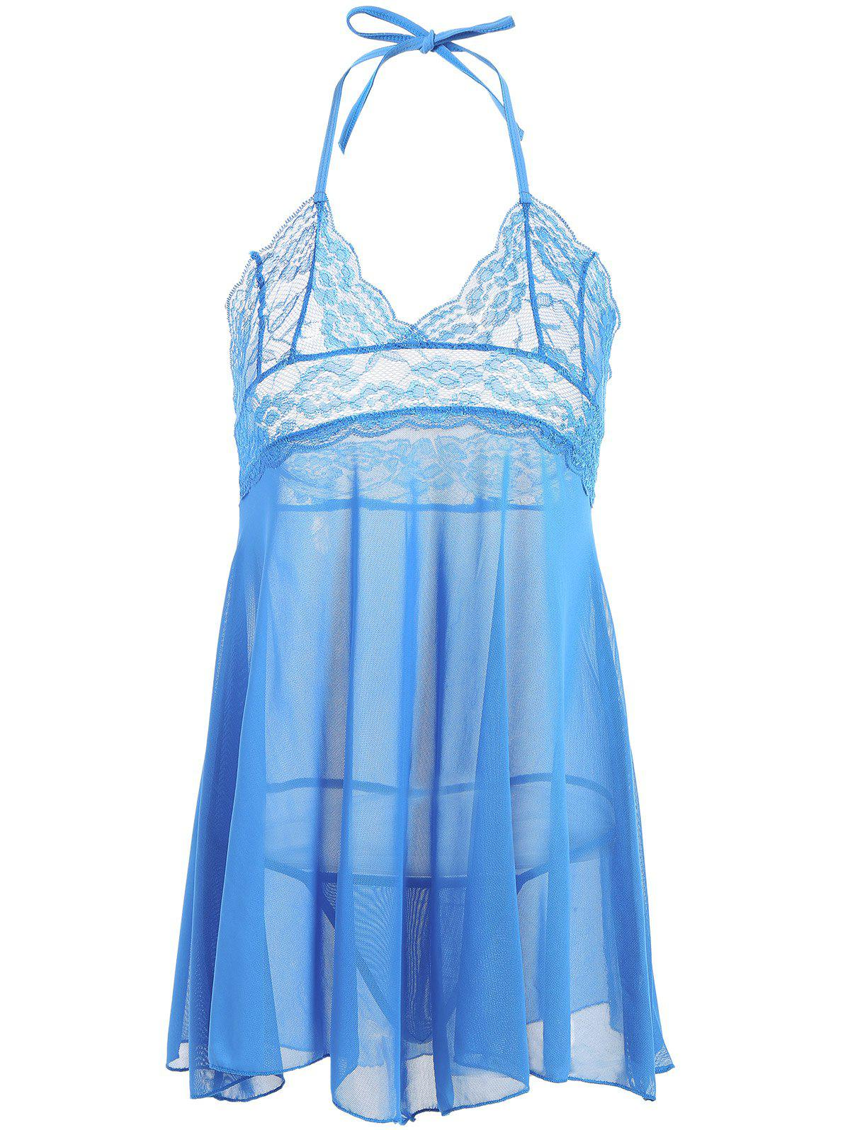 See-Through Lace Panel BabydollWomen<br><br><br>Size: ONE SIZE<br>Color: LIGHT BLUE