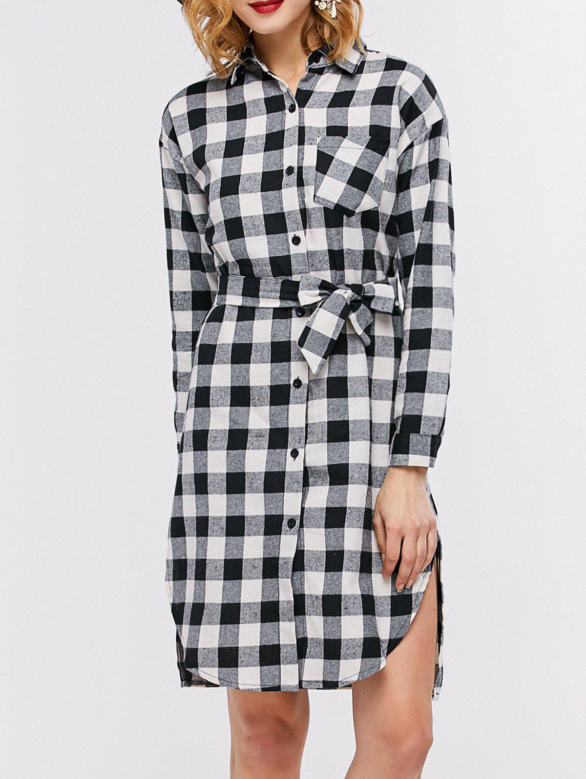 Casual Plaid Mini Shirt Dress - BLACK 2XL