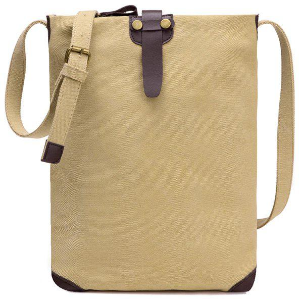 Unisex Canvas Crossbody Bag - KHAKI