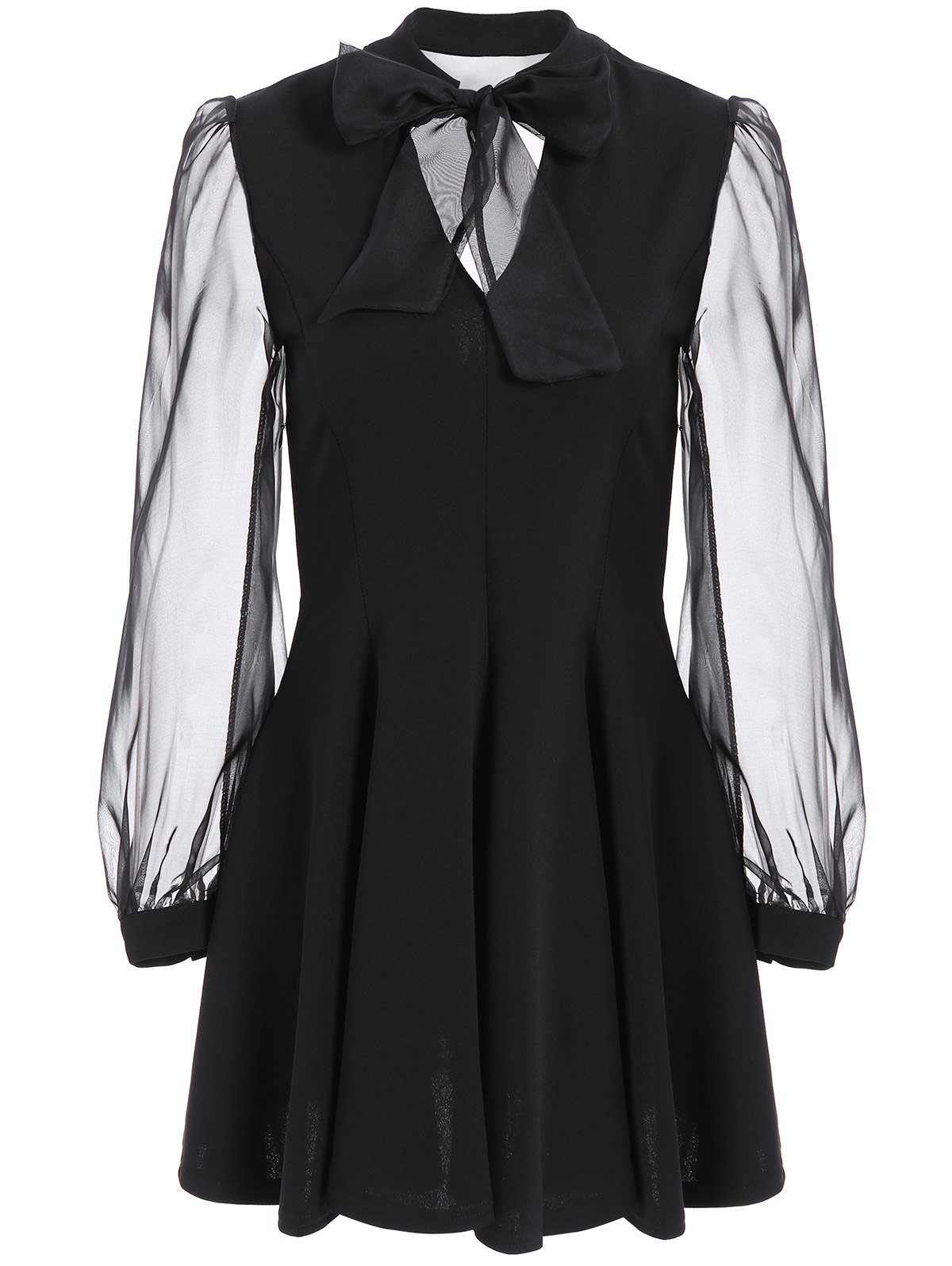 Bow Tie Collar Mesh Insert Dress - BLACK L
