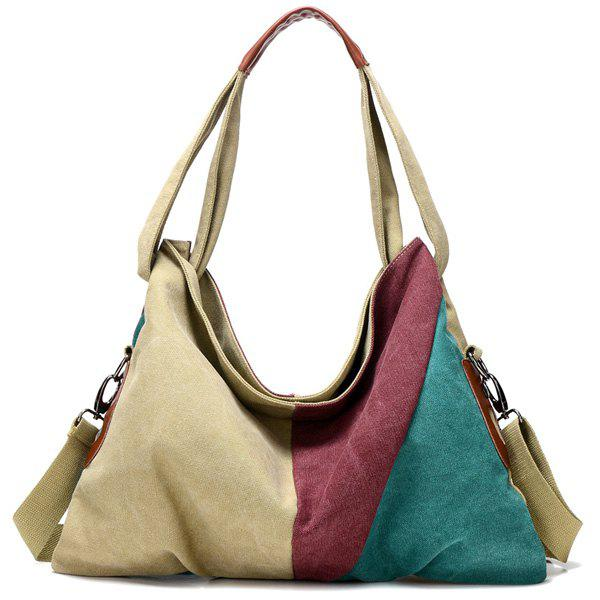 Color Block Slouch Tote Bag - COLORMIX