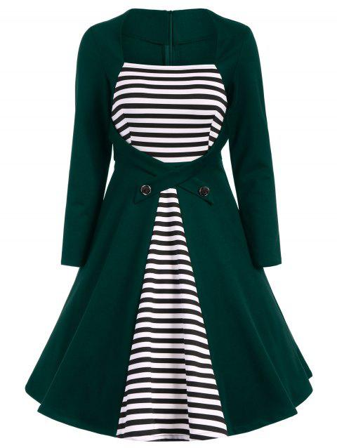 Plus Size Square Collar Striped Skater Dress with Long Sleeves - BLACKISH GREEN 2XL