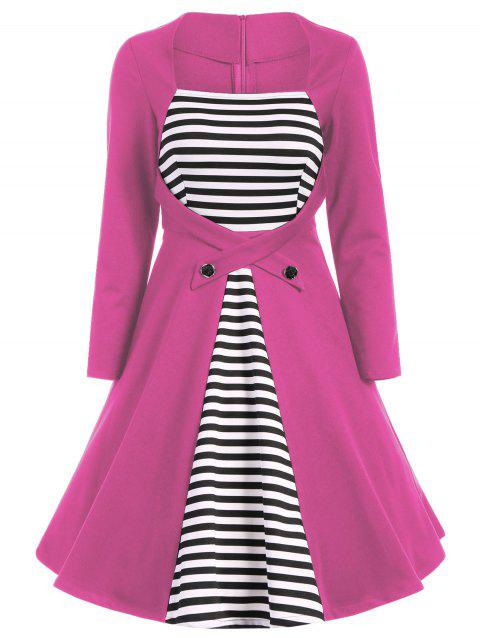 Plus Size Square Collar Striped Skater Dress with Long Sleeves - PINK 3XL