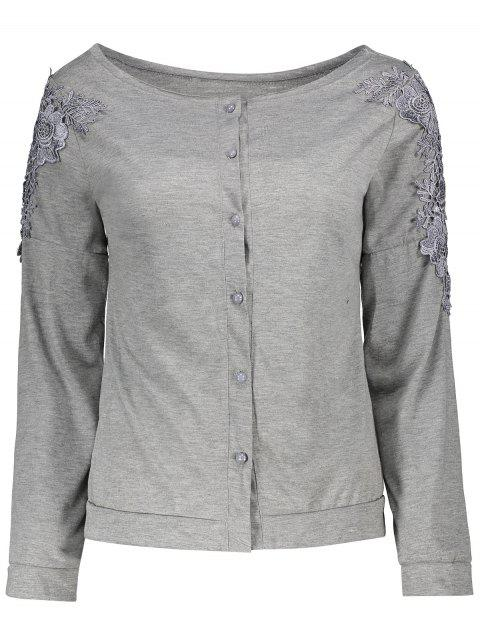 Long Sleeve Lace Button Embellished T-Shirt - GRAY L