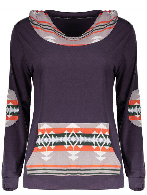 Retro Style Long Sleeve Hooded Spliced Printed Women's Hoodie - multicolorCOLOR M