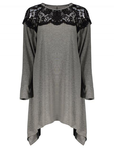 Fashionable Long Sleeve Round Neck Loose-Fitting Lace Splicing Women's T-Shirt - GRAY L