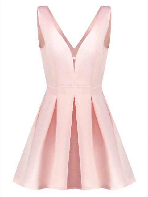 Stylish Plunging Neck Sleeveless Solid Color A-Line Women's Dress - PINK M