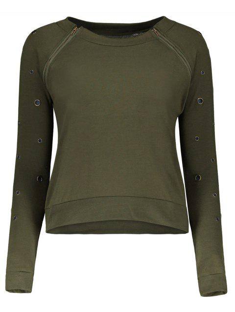 Stylish Scoop Neck Long Sleeve Army Green Hole Design Women's T-Shirt - ARMY GREEN L