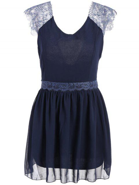 Lace Splicing Sleeveless Solid Color Backless Trendy Style Women's Dress - BLUE S