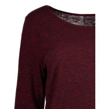 Front Slit Ribbed T-Shirt - WINE RED L