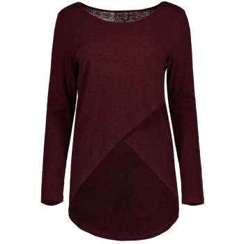 Front Slit Ribbed T-Shirt - WINE RED WINE RED