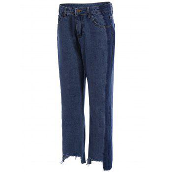 Two Tone Frayed Hem Wide Leg Jeans - 27 27