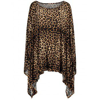Charming 1/2 Batwing Sleeve Leopard Print Asymmetric Loose Dress For Women