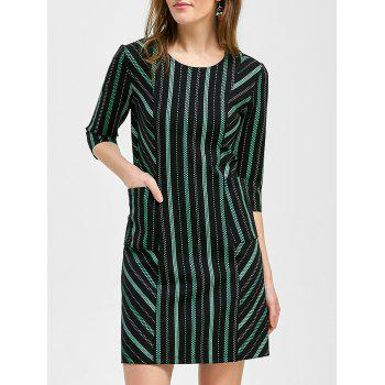 Concealed Rear Zip Striped Dress