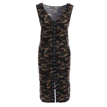 Hooded Camouflage Single-Breasted Bodycon Dress