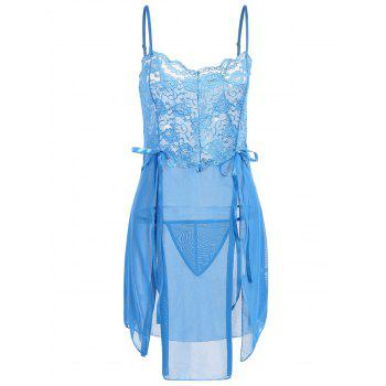 Sheer Lace Panel High Slit Babydoll