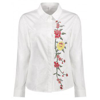 Floral Embroidery Long Sleeve Shirt