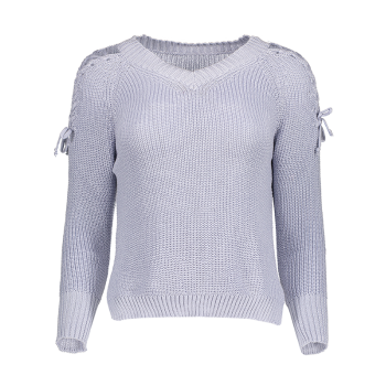 Step Hem Lacing Sleeve V Neck Jumper - LIGHT BLUE ONE SIZE