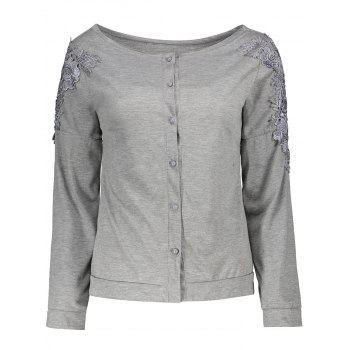 Long Sleeve Lace Button Embellished T-Shirt
