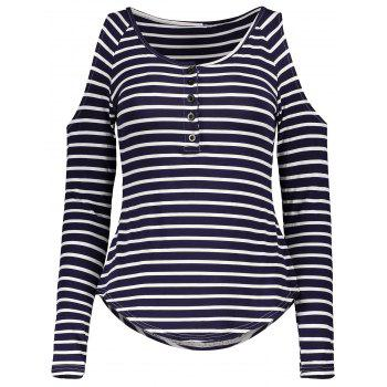 Stylish Scoop Neck Long Sleeve Striped Hollow Out Women's T-Shirt