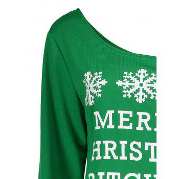 Snowflake and Letter Print Christmas Green Sweatshirt - GREEN L