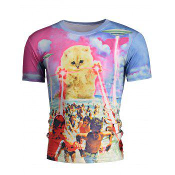 Casual Round Neck 3D Star Cat and Figure Print Men's Short Sleeves T-Shirt - COLORMIX M