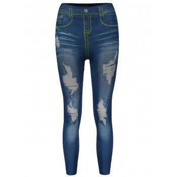 Stylish Women's Bleach Wash Hole Jean Legging