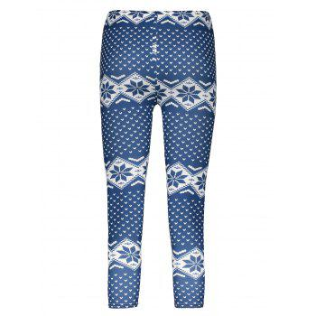 Trendy Bodycon Heart Print Elastic Waist Women's Leggings - PURPLISH BLUE ONE SIZE(FIT SIZE XS TO M)