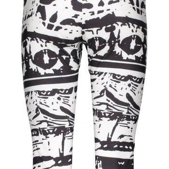 Trendy Abstract Printed Bodycon Leggings For Women - WHITE/BLACK M