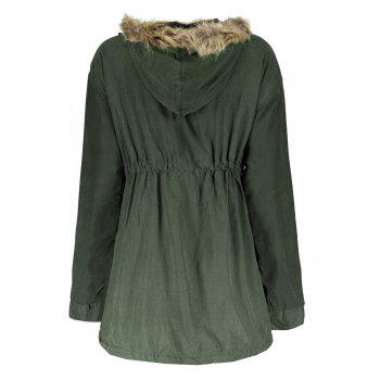 Trendy Convertible Hooded Faux Fur Drawstring Thick Fleece Coat For Women - ARMY GREEN L