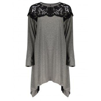 Fashionable Long Sleeve Round Neck Loose-Fitting Lace Splicing Women's T-Shirt