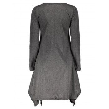 Stylish Round Neck Long Sleeve Asymmetrical Spliced Women's Dress - GRAY L