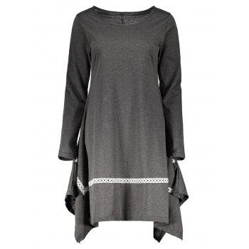 Stylish Round Neck Long Sleeve Asymmetrical Spliced Women's Dress