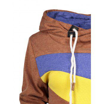 Chic Long Sleeve Hooded Hit Color Women's Hoodie - COFFEE COFFEE