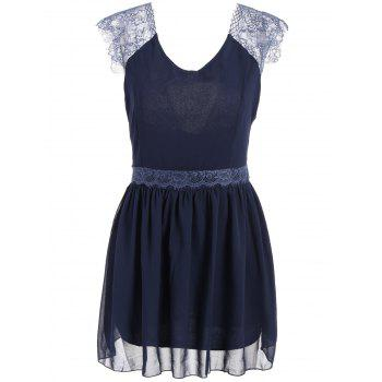 Lace Splicing Sleeveless Solid Color Backless Trendy Style Women's Dress
