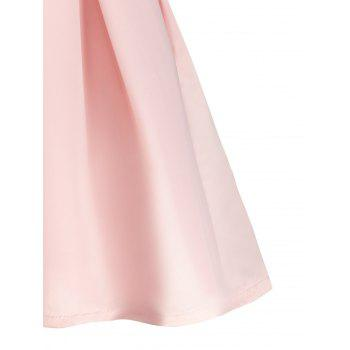 Stylish Plunging Neck Sleeveless Solid Color A-Line Women's Dress - PINK S