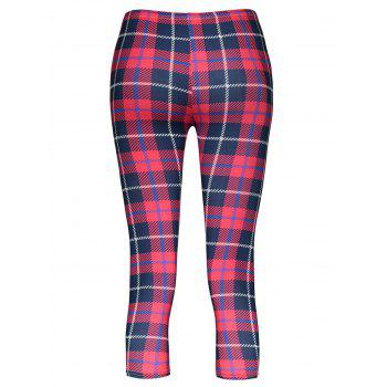 Trendy Bodycon Plaid Elastic Waist Women's Leggings - RED ONE SIZE(FIT SIZE XS TO M)