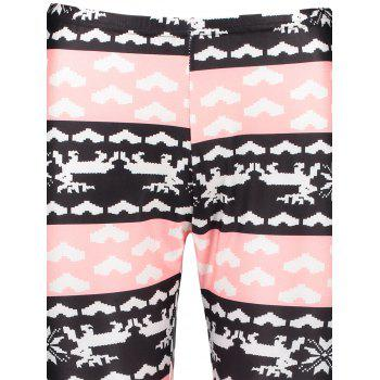 Stylish High Waist Color Block Heart Printed Bodycon Leggings For Women - COLORMIX S
